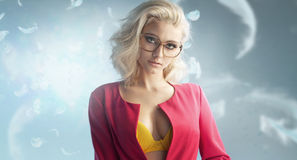 Fabulous blond woman wearing glasses Stock Photos