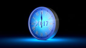 Fabulous blue clock, midnight. New Year 2017. Christmas.  3D animation stock video