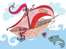 Fabulous boat sailing on ocean, the sailor on Board threw a Dolphin gift on the rod royalty free stock image