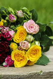 Fabulous bouquet of colorful roses Stock Photography