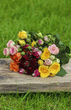 Fabulous bouquet of colorful roses Stock Photos