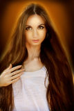 Fabulous Brunette Girl. Healthy Long Hair Stock Photography