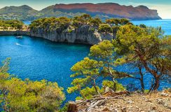 Fabulous Calanques de Port Pin in Cassis near Marseille, France. Breathtaking viewpoint on the cliffs, Calanques de Port Pin bay, Calanques National Park near Royalty Free Stock Image