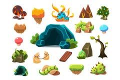 Fabulous cave, trees, plants, mushrooms, design elements fo fantasy landscape, world of trolls vector Illustrations on a royalty free illustration