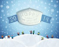 Fabulous Christmas winter card in cartoon-style Royalty Free Stock Photography