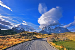 Fabulous clouds over  park Torres del Paine Stock Photo