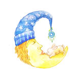 A fabulous cute month of watercolor, an illustration of the moon. For a children`s book, stickers. Sleeping character, sweet dream, funny rabbit fell asleep Royalty Free Illustration