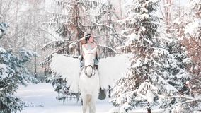 Fabulous dark princess with black hair, gray dress and expensive jewelry went out for walk in winter forest riding