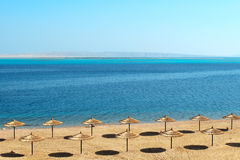 Fabulous empty beach waiting for the customers. Fabulous empty beach of the new hotel waiting for the customers in Hurghada, Egypt Stock Photos