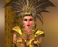 Fabulous Feathers Close Up. Close up of beautiful fashion model with feather headdress in a metallic gold outfit. Suitable for depicting beauty, power and Stock Photo