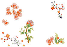 Fabulous flowers with bright red berries. Japanese and Chinese style. Stock Photography