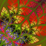Fabulous fractal pattern in red.  Collection - tree foliage Royalty Free Stock Image