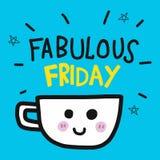 Fabulous Friday coffee cup cartoon doodle illustration vector illustration