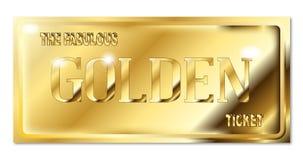 A Fabulous Golden Ticket Over White. A fabulous golden ticket over a white backround Stock Photo