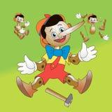 Fabulous hero Pinocchio; Wooden toy to take apart. Fabulous hero Pinocchio with hummer; Wooden toy to take apart Royalty Free Stock Photography