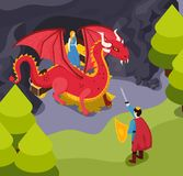 Fabulous Heroes Isometric Composition royalty free illustration