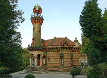 Fabulous house. House in Comillas (Spain) Designed by Antoni Gaudí i Cornet and built between 1883 and 1885 under the direction of the architect Cascante royalty free stock photos