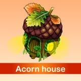 Fabulous house of acorn. Inhabited by tiny residents Stock Photos