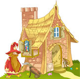 Fabulous house of  made of stone. The illustration shows  fabulous of  made of stone and funny cartoon gnome. Illustration can be a gaming background to Royalty Free Stock Photo
