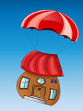 Fabulous house with parachute Royalty Free Stock Photos