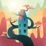Fabulous house with roof, intertwined with tree on mountains,hills background. Autumn weather, warm fall sun shines, orange crowns stock illustration