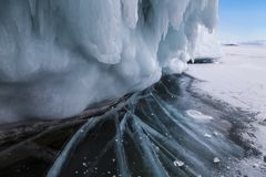 Fabulous ice cave on lake Baikal. Eastern Siberia. Russia stock images