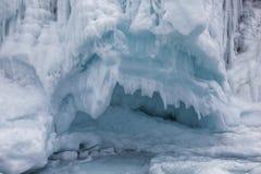 Fabulous ice cave on lake Baikal. Eastern Siberia,. Russia royalty free stock photography