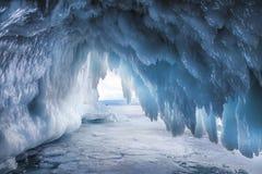 Fabulous ice cave on lake Baikal. Eastern Siberia,. Russia royalty free stock photo