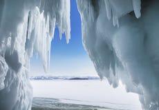 Fabulous ice cave on lake Baikal. Eastern Siberia. Russia stock photo