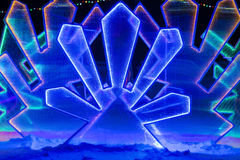 Fabulous ice illumination background. In winter, outside Stock Image