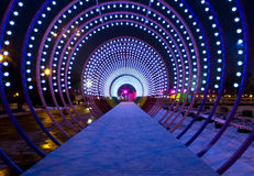 Fabulous illuminated tunnel in Moscow central park Stock Image