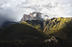 A fabulous landscape in the Caucasus mountains with a change of weather stock photography