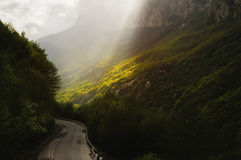 A fabulous landscape in the Caucasus mountains with a change of weather stock photos