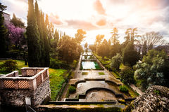 Fabulous landscape, gardens and fountains. Italian Renaissance garden, Italy Stock Photography