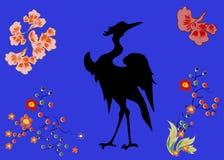 Fabulous large bird with Golden feathers. Japanese. Stock Photo