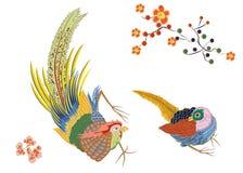 Fabulous large bird with Golden feathers. Japanese. Royalty Free Stock Image