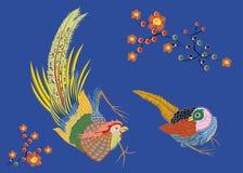 Fabulous large bird with Golden feathers. Japanese. Stock Image