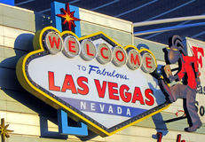 Fabulous Las Vegas logotype on the wall, Stock Images