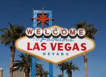 Fabulous Las Vegas Sign. Fabulous Las Vegas Nevada welcome sign with palm trees Stock Photo