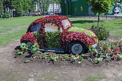 Fabulous machine made of flowers. Royalty Free Stock Image