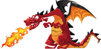 Fabulous magical red with teeth fire-spitting drag Royalty Free Stock Photography