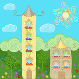 Fabulous meadow with cartoon houses Stock Photography