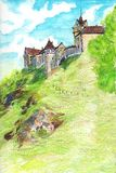 Fabulous medieval castle in the Czech Republic. Hand-drawn illustration of colored pencils. Castle is Loket Stock Images