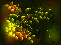 Fabulous monochrome floral composition in Golden tones, vignette on a dark background.EPS10 vector illustration. Royalty Free Stock Images