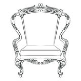 Fabulous Rich Baroque Rococo Armchair. French Luxury rich carved ornaments furniture. Vector Victorian exquisite Style ornamented chair Stock Photography