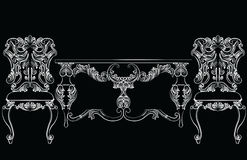 Fabulous Rich Baroque Rococo chair and table set. French Luxury rich carved ornaments furniture. Vector Victorian exquisite Style ornamented wooden furniture Royalty Free Stock Image
