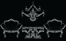 Fabulous Rich Baroque Rococo chair and table set. French Luxury rich carved ornaments furniture. Vector Victorian exquisite Style ornamented wooden furniture Stock Image