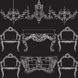 Fabulous Rich Baroque Rococo furniture set. French Luxury rich carved ornaments decorations. Vector Victorian exquisite Style ornamented wooden furniture and Stock Image