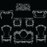 Fabulous Rich Baroque Rococo furniture set. French Luxury rich carved ornaments decorations. Vector Victorian exquisite Style ornamented wooden furniture and Royalty Free Stock Images