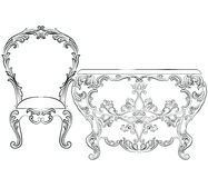Fabulous Rich Rococo Furniture set. French Luxury rich carved ornaments furniture. Vector Victorian wealthy Style furniture Stock Photo